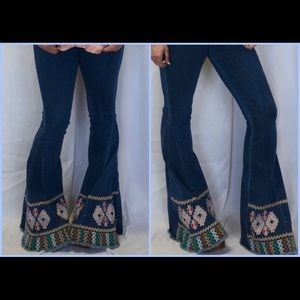 """Embroidered Bell Bottom Jeans- 35"""" Inseam"""